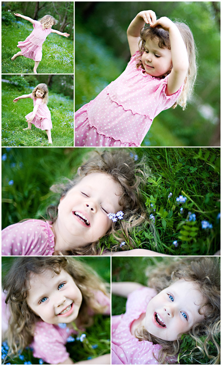 child dancing in the grass