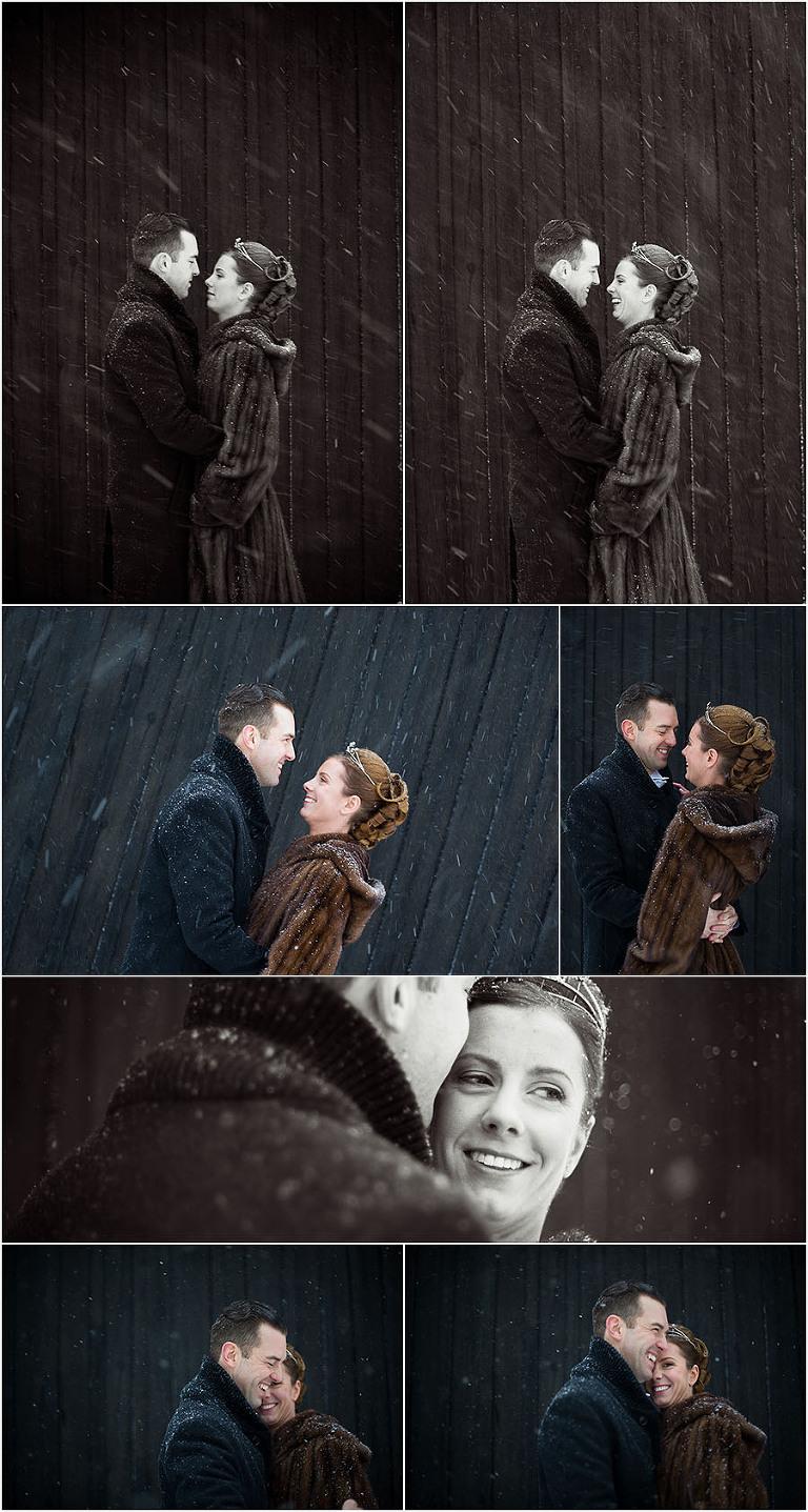 bröllopsfotograf stockholm, vinterbröllop, brudpar i snö