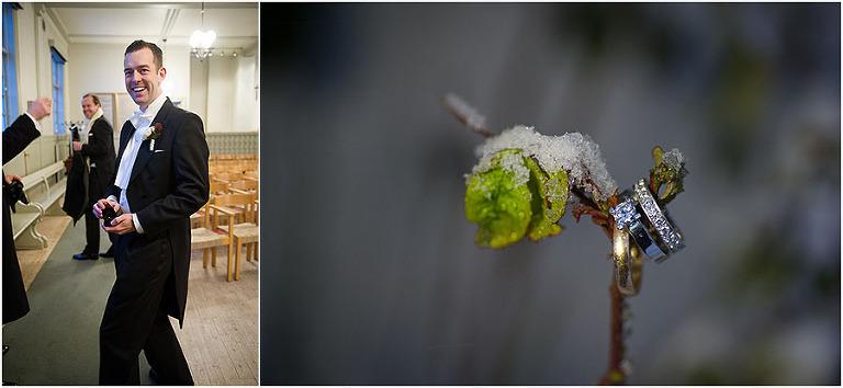 bröllopsfotograf stockholm, vigselringar, vinterbröllop