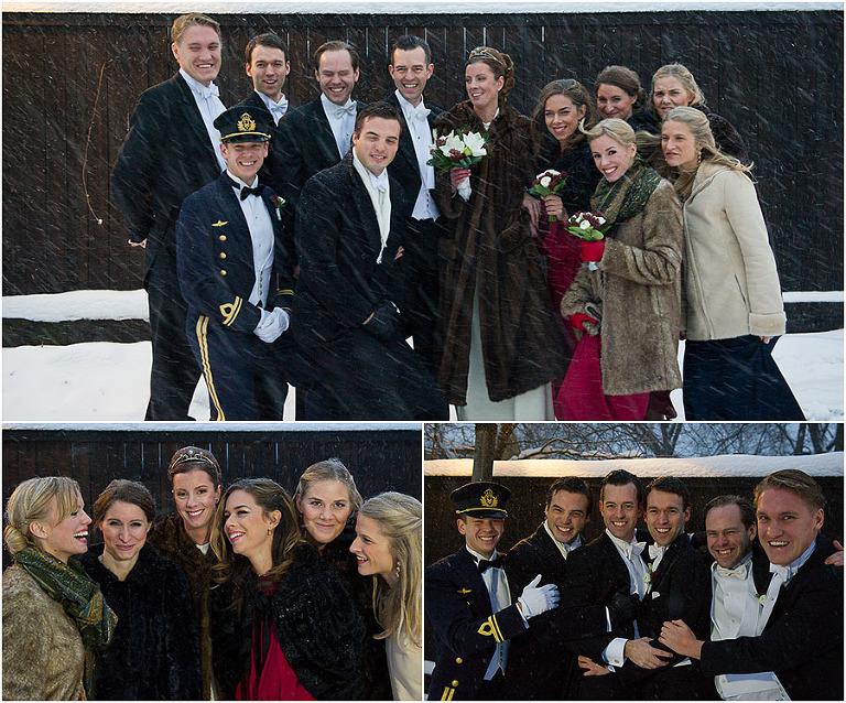 bröllopsfotograf stockholm, brudtärnor, vinterbröllop