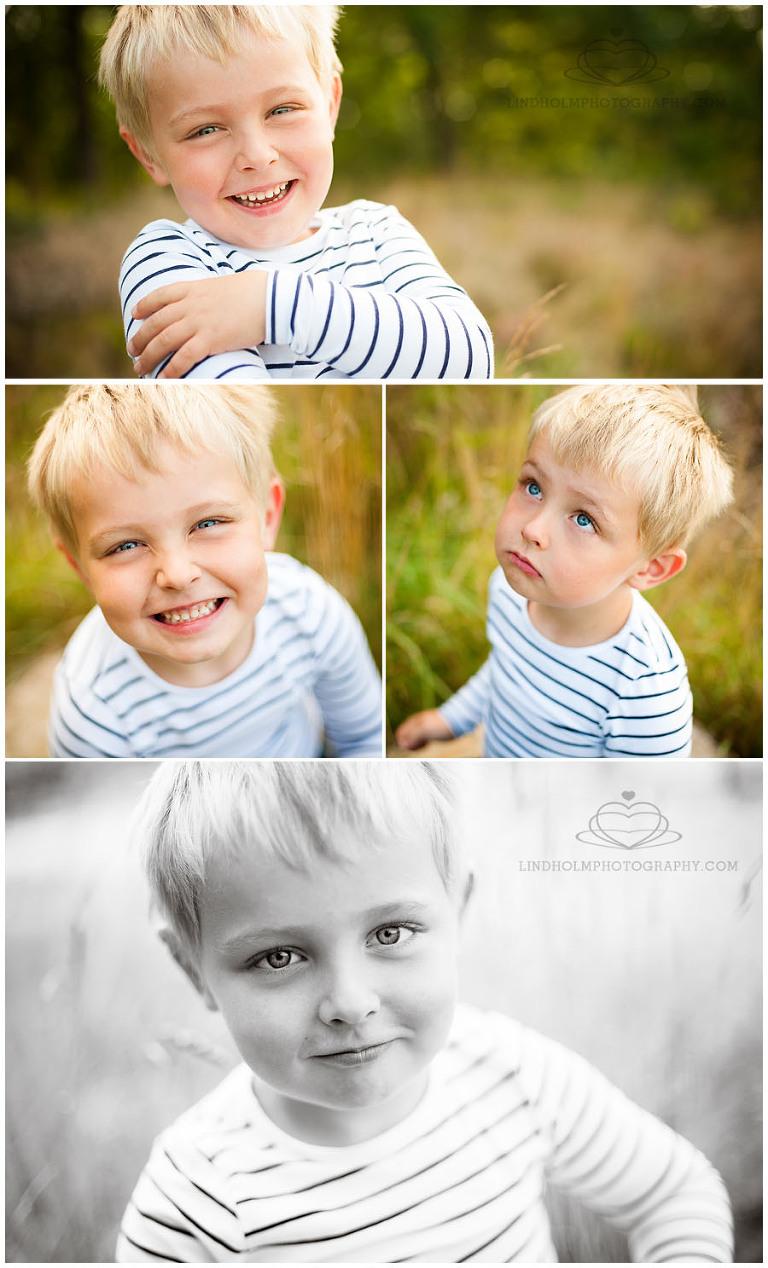 barnfotografering i Tullinge med Lindholm Photography, pojke på äng, levnadsglad, mitt barn,