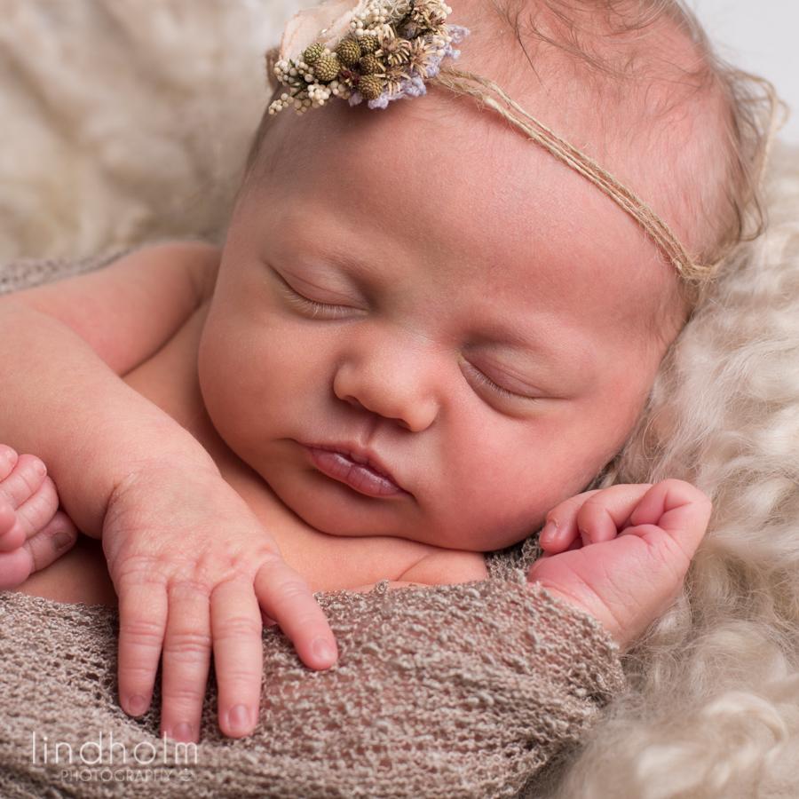 närbild foto på nyfödd bebis som sover. små vita prickar på näsan och söta läppar. stoclholm fotograf terri lindholm